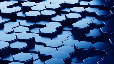 Abstract blue hexagonal sci-fi honeycomb geometrical background. 3d rendering