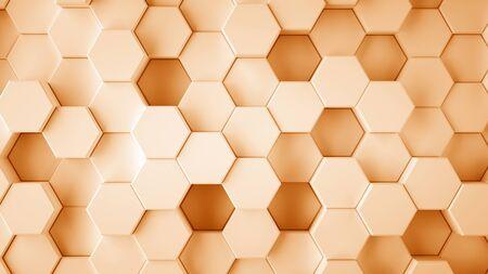 Abstract orange hexagonal sci-fi honeycomb geometrical background. 3d rendering Foto de archivo