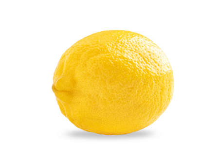 Photo of closeup ripe yellow lemon isolated on white background with shadow 免版税图像