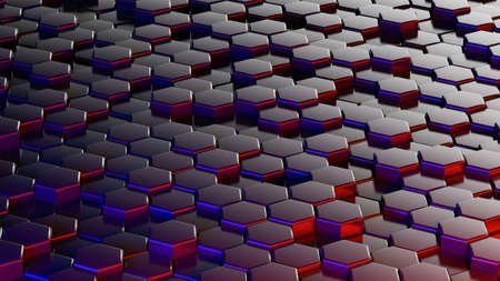 Abstract hexagonal sci-fi honeycomb geometrical background. 3d rendering 免版税图像
