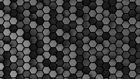 Abstract gray hexagonal sci-fi honeycomb geometrical background. 3d rendering