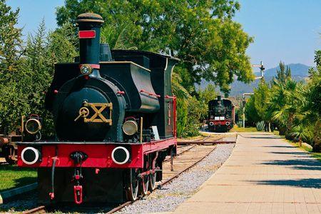 steam locomotives: Parking of steam locomotives in Turkey Stock Photo