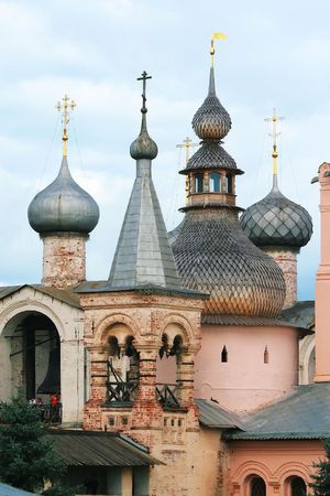 Domed churches picturesque Rostov Kremlin Stock Photo