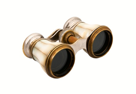 The old opera glasses, pearl shell on white background photo
