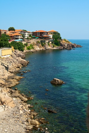 The rocky coast with picturesque houses, Nessebar, Bulgaria.