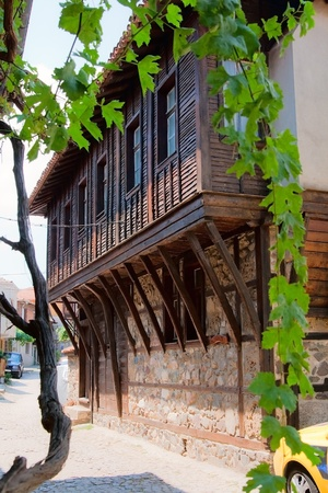 struts: The second floor of an apartment building in the center of the town of Nessebar. Bulgaria.