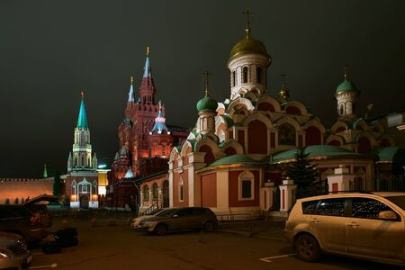 Night view of the Cathedral, Historical Museum and St. Nicholas Tower of the Kremlin. Moscow.