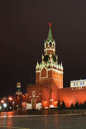 Spaska tower of Moscow Kremlin at the night sky