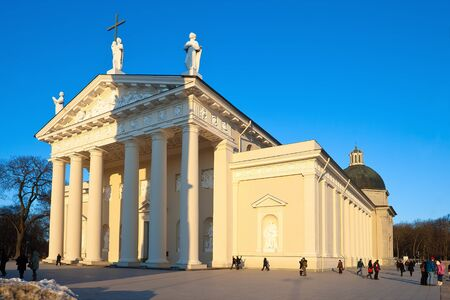 Cathedral in the sunset  Vilnius  Lithuania