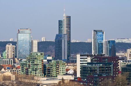 The new city, modern architecture, high-rise buildings of glass in the center of Vilnius  Stock Photo