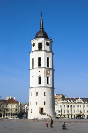 Belfry in Cathedral Square in the early spring  Vilnius, Lithuania