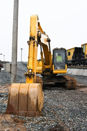 Excavator is no movement, ladle ekskavatra rests on the ground Stock Photo