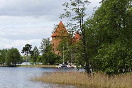 Lake Galve in the spring and the castle tower Stock Photo - 13877346