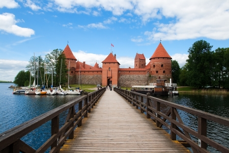 Bridge in Trakai castle across the lake Galve