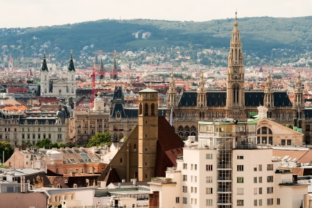 Vienna, Austria, the view of the city from the observation deck of the Cathedral of St  Stephen