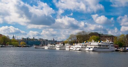 Ships are moored in the center of Stockholm photo