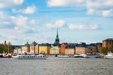 Old Houses in Stockholm -  view of Embankment  Stock Photo