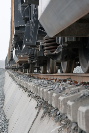 Railroad tracks and rolling stock wheelsets closeup