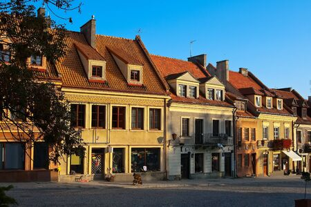 Ancient houses on the central square of the city is strictly in Sandomierz  Poland Editorial
