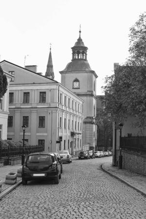Sandomierz street leading to the cathedral  Poland Stock Photo