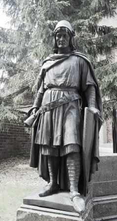 A statue of one of the Grand Masters of the Teutonic Order  Malbork  Poland Stock Photo