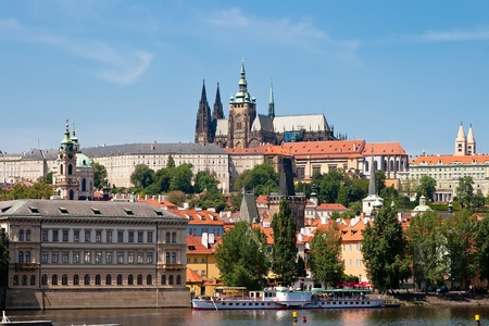 View from the right bank of the Vltava River to Prague photo