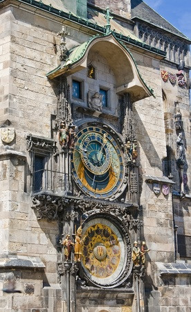 Unique astronomical clock on the wall of the Old Town Hall in the center of Prague. Czech.