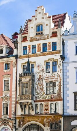 bourgeoisie: The facade off the house on the Old Town Square in Prague with beautiful paintings  Czech