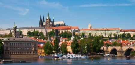 Panoramic view of the Vltava River, the district of Hradcany and St. Vitus Cathedral. Czech Republic