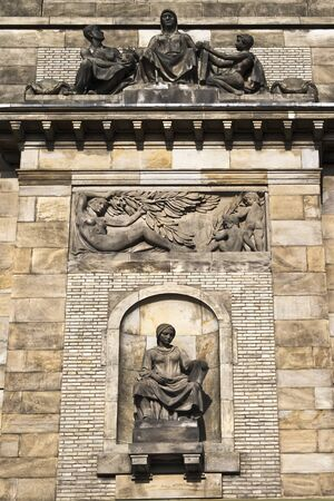 Fragment of facade with sculptures  The Ministry of Industry and Trade  Prague  Czech