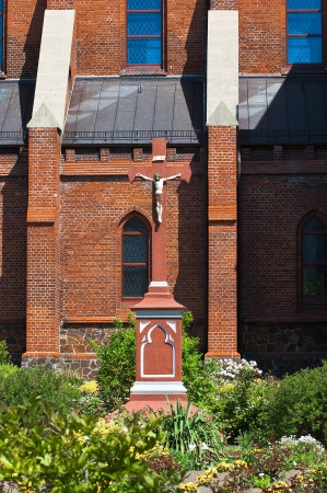Crucifixion in the courtyard of the Polish church photo