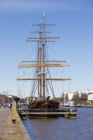 barque: barque Sigyn - the only remaining wooden-hulled barque which has transported cargo in ocean traffic, in the entire world
