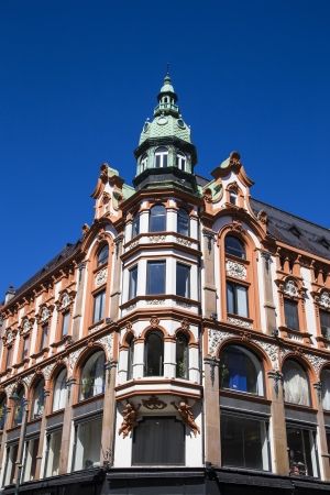 Facade of the corner house in the historic center of the city  Oslo  Norway