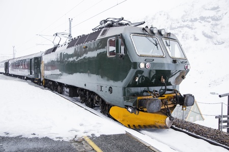 The railway at an altitude of 800 meters above sea level in the mountains of Norway