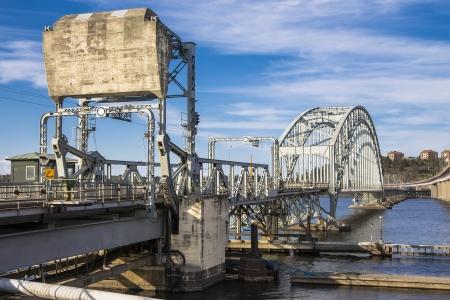bridge in the area Lidingö with divorce span  Stockholm  Sweden Stock Photo