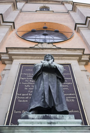 Olaus Petri monument near Stockholm Cathedral Editorial
