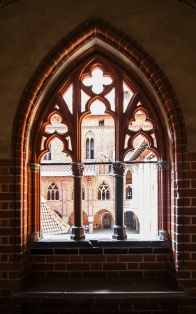 Carved window opening in a medieval castle  Poland  Malbork