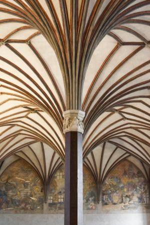 Vaulted ceiling with columns in a medieval castle  Poland  Malbork