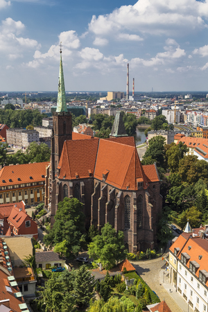 Cathedral of St  Bartholomew and the Holy Cross in Wroclaw  Poland Stock Photo