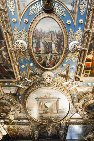 Fragment of painting the ceiling of the Great Hall  Red Room Hall  of the Council in the Town Hall in Gdansk 2  Poland Stock Photo - 22597391