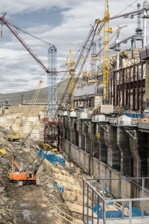 Construction of hydro electric station in Siberia Stock Photo