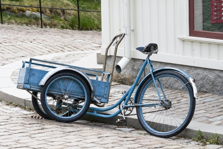 Cargo version of the bicycle with a large front garden trolley Stock Photo - 24393178
