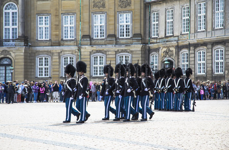 COPENHAGEN, DENMARK - AUGUST 14, 2013  Change of guard at the Royal Palace in Copenhagen  Denmark in Copenhagen, on 14 august 2013