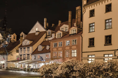 The historic center of the city at night with artificial lighting  Riga  Latvia