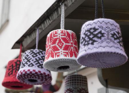visor: Knitted bells on the front door visor