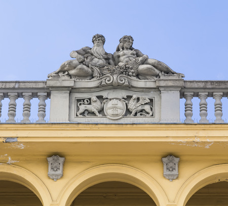 szechenyi: Sculptural composition on the roof of the central building Szechenyi Bath  Budapest  Hungary Stock Photo