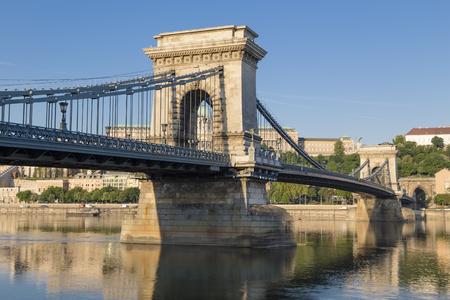 szechenyi: Szechenyi Chain Bridge  Budapest  Hungary Stock Photo