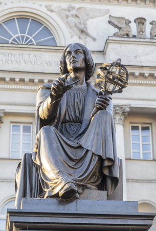 Monument to the great scientist Nicholas Copernicus  Warsaw  Poland