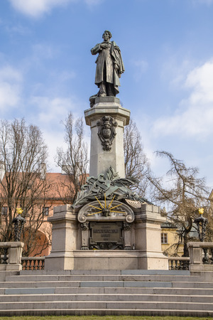 national poet: Monument in honor of the great Polish poet, political journalist, leader of the national liberation movement of the Adam Mickiewicz  Warsaw  Poland