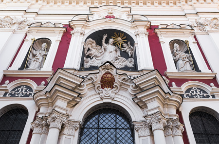 wielkopolskie: Detail of the facade of the Church of Our Lady of Perpetual Help and St. Mary Magdalene. Poznan. Poland